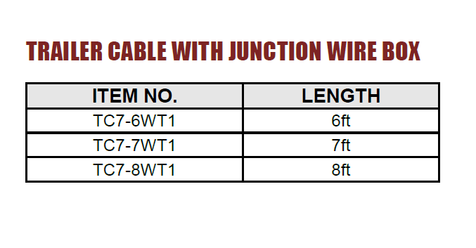 Trailer cable with junction wire box