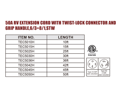 50A RV Extension Cord With Twist-Lock Connector And Grip Handle,6/3 8/1,STW