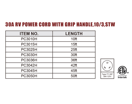 30A RV Power Cord With Grip Handle,10/3,STW