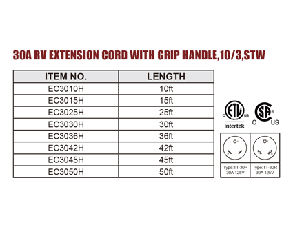 30A RV Extension Cord With Grip Handle,10/3,STW