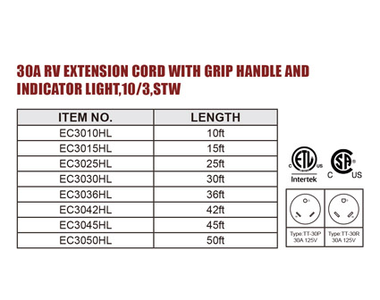 30A RV EXTENSION CORD WITH GRIP HANDLE AND INDICATOR LIGHT,10/3,STW