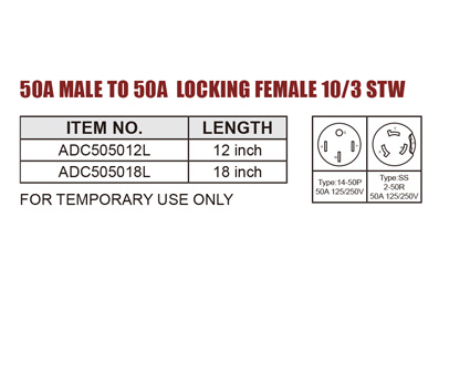 RV Adapter 50A Male To 50A Locking Female 10/3 STW