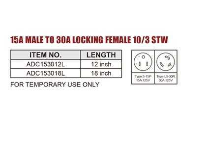 RV ADAPTER 15A MALE TO 30A LOCKING FEMALE 10/3 STW