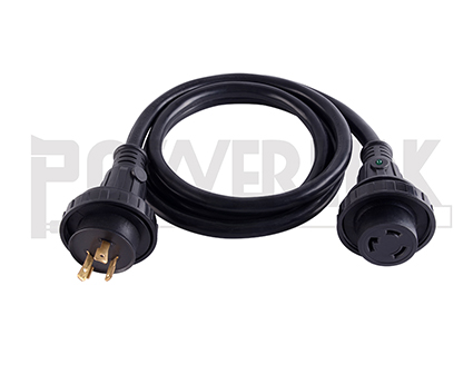 30A 10/3 Shore Power Extension Cord With Indicator Light