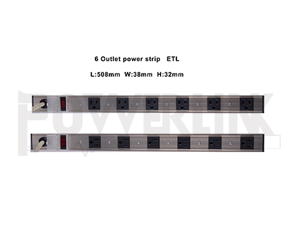 6 Outlets Rack-mount PDU, Aluminum Alloy Surge Protector Power Strip