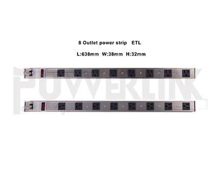 8 OUTLETS RACK-MOUNT PDU, ALUMINUM ALLOY SURGE PROTECTOR POWER STRIP